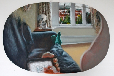 Self View with Feet After Mach, Oil on Canvas, 2012